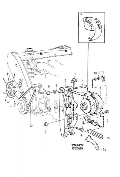 Explosionsgrafik der Volvo 760 Buchse Lichtmaschine 463909
