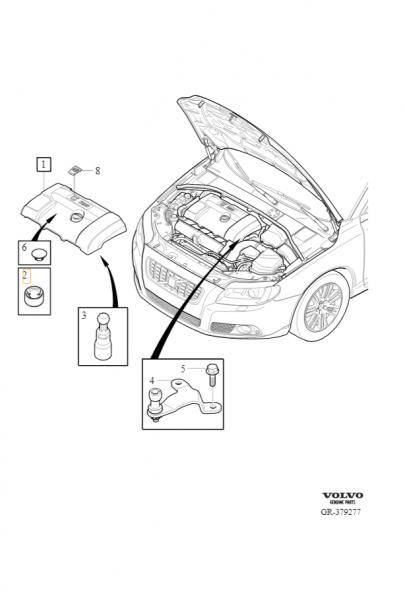 Explosionsgrafik Volvo XC60 (bis 2017) Buchse Motorabdeckung 8642162