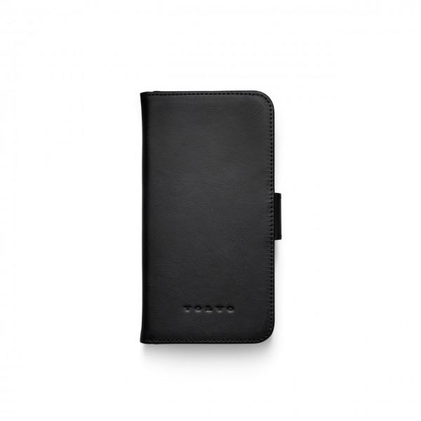 Original Volvo IPhone 11 Schutzhülle Leder schwarz aufklappbar 32220952 - zugeklappt