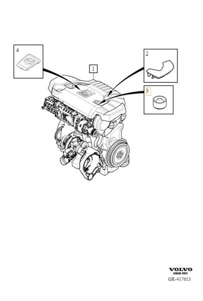 Explosionsgrafik Volvo V40 (ab 2013) Buchse Motorabdeckung 8642162