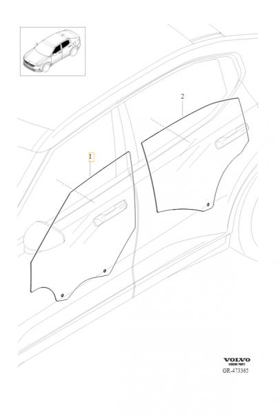 Original Polestar 2 Seitenscheibe Fahrertür 31688226