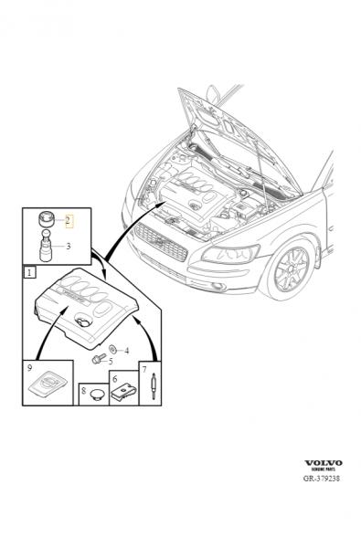 Explosionsgrafik Volvo C30 Buchse Motorabdeckung 8642162
