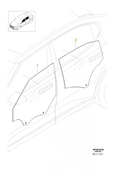 Original Polestar 2 Seitenscheibe Hintertür links 31688228 - Explosionszeichnung