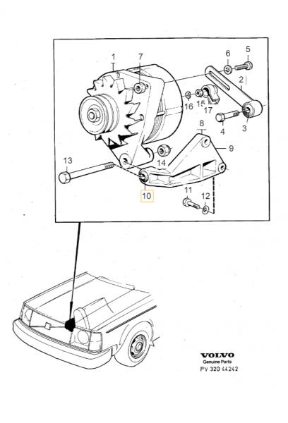 Explosionsgrafik der Volvo 260 Buchse Lichtmaschine 463909