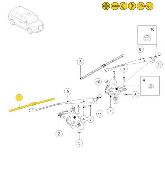 LEVC Scheibenwischer für die Frontscheibe (Beifahrerseite)