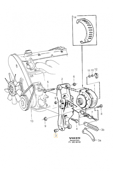 Explosionsgrafik der Volvo 940 Buchse Lichtmaschine 463909