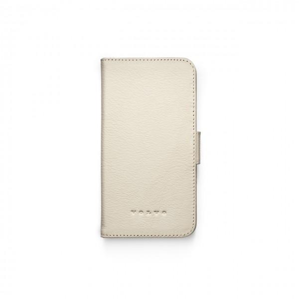 Original Volvo IPhone XR Schutzhülle Leder marmorweiß aufklappbar 32220939 - zugeklappt