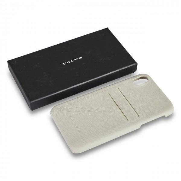 Volvo IPhone XR Schutzhülle Leder Marmorweiß