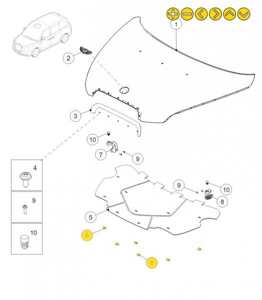 LEVC Befestigungsklemme Motorraumdämmung STD-01026