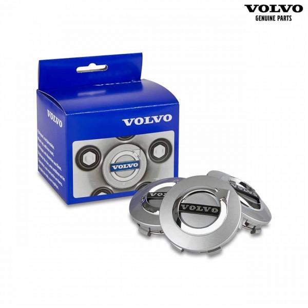 Original Volvo C40 Nabendeckel Satz Silber (matt) 31454233 - mit Verpackung